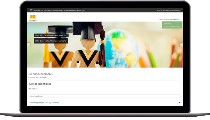 Academia Andoain - Sitio web educativo